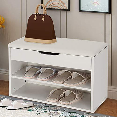 "Zerone Shoe Bench, 2 Tiers Wooden Shoe Cabinet Hallway Shoe Rack Lift Up Lid Shoe Storage Bench with PU Padded Seat 23.62"" x 11.81"" x 16.93"""