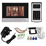 Zerone Video Door Phone Intercom Doorbell Kits, 7 '' LCD HD Visual Video Camera Doorbell Night Vision Home Security Lock System Waterproof RFID Cards Convenient Entry(UK Plug)