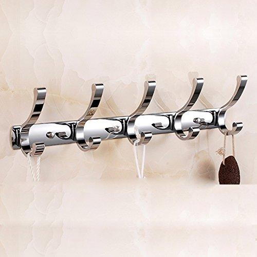 ZHEN GUO Coat Hook Rack Wall Mounted Chrome Stainless Steel Hanger Heavy Duty Clothes Hat Holder (Size : 48.5cm 5 hooks)