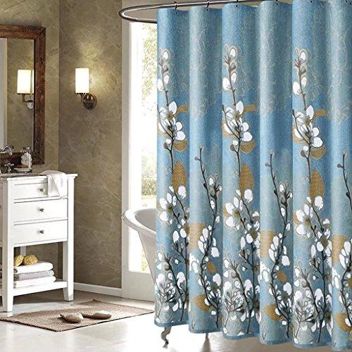 ZHEN GUO SHOP Bathroom White Magnolia Thicker Shower Curtain mould proof resistant Waterproof 180 x 180 cm with Hooks (Size : 200 * 200cm)