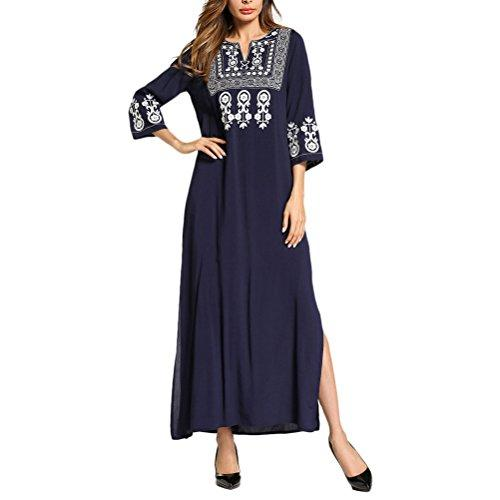 Zhhlaixing Lightweight Retro Blue 3/4 Sleeves Islamic Clothing Abaya Dress Kaftan Dressing Gowns for Women Summer