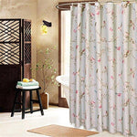 Zhomesupplies 100% Polyester Blue Shower Curtain Red Birds Butterfly White Flower Pattern Opaque Waterproof Fabric For Hotal Home Bathroom Washroom Decoration With Enough Rings Hooks, 240*200cm