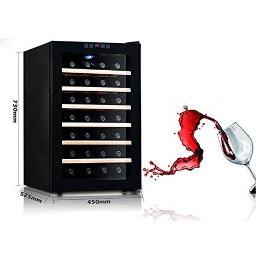 ZLL Car Fridge-28 Bottlesthermoelectric Wine Cooler - Red and White Wine Chiller - Countertop Wine Cellar - Freestanding Refrigerator with LCD Display Digital Touch Controls,Wooden Shelf