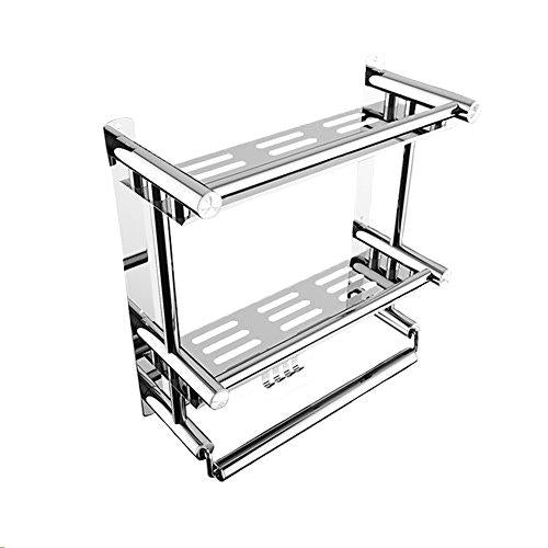 ZoraZone Shower Organiser DoubleShelf Bath Rack Shower Caddy Stainless Steel Bathroom Corner Rack Stand 2 Tier with Hook,Suction Cup No-Drilling (L 50x W15 x H38cm-2 Tier)