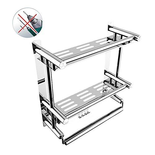 ZoraZone Shower Organiser DoubleShelf Bath Rack Shower Caddy Stainless Steel Bathroom Corner Rack Stand 2 Tier with Hook,Suction Cup No-Drilling (L 58x W15 x H38cm-2 Tier)