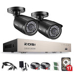 ZOSI 720P Home Security CCTV Systems 1TB Hard Drive, 8CH 1080N Remote Security Camera System (CCTV Kits) 2x 1.0MP(1280x720P) Outdoor Home Security Cameras