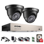 ZOSI 8-Channel Home Security Camera System , 2x 720P Dome Security Cameras, Security Camera Kits With 1TB Hard Drive, 20m Night Vison, All-weather Adaptation, Email Alert with Images, Mobile App: ZOSI View
