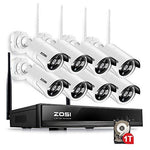 ZOSI 8 Channel Wireless CCTV camera System,Home CCTV Kits 8pcs 1.3MP 960P Wifi Bullet IP Cameras Outdoor Home Security Camera System w/1TB Hard Drive Support Motion Detection Email Alert Remote View on Phone App