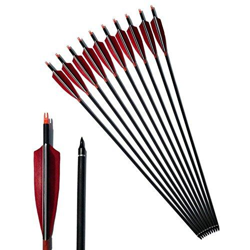 "ZSHJG 12Pcs Archery 31Inch Carbon Arrows with 5"" Feather 500 Spine Can Replace Arrowheads"