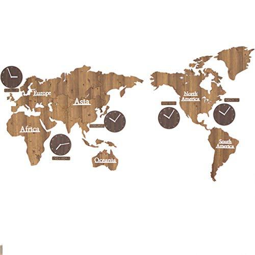 ZSLMX Super Large 3D Wooden World Map Wall Clock Modern Design Quartz Needle Mute DIY Round Wall Clock Wall Decal Home Living Room Wall Sticker Clock Art Decoration Crafts,brass