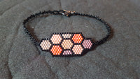 Hive Focal Piece Bracelet, orange and coral