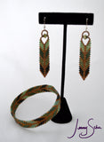 Arrow Earrings in Greens and Gold