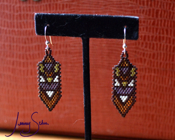 Deco Point Earrings, Brown Base