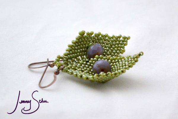 Green Pod Earrings with Lavender Faceted Bead