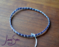 Tiny Stripe Bangle, Ultraviolet and White