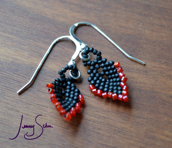 Mini Pod Earrings, Black with Red Edging