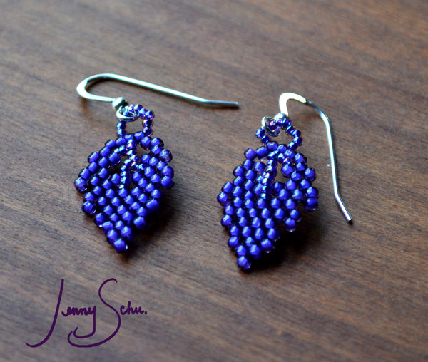 Tiny Ultraviolet Leaf Earrings