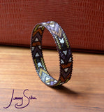 Small Deco Bangle, Brown Base