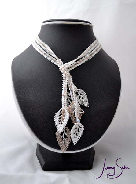 White Leaf Lariat Necklace