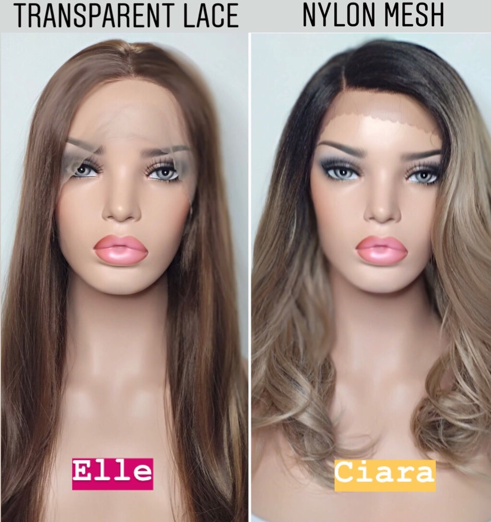 Lace front and nylon mesh wigs