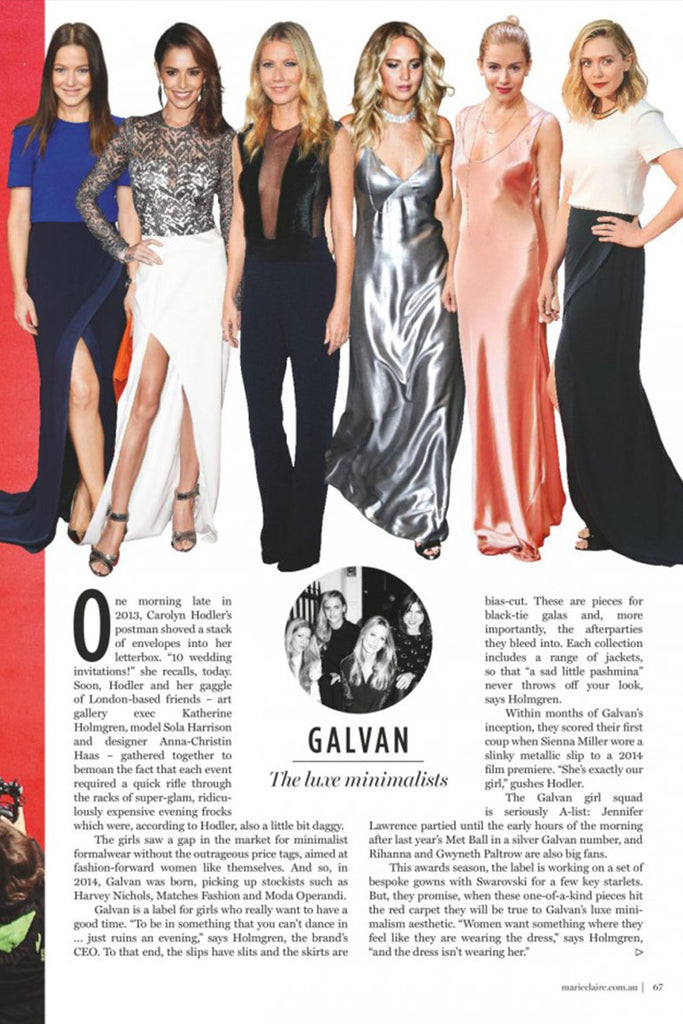'Galvan: The Luxe Minimalists' by Marie Claire (Australia)