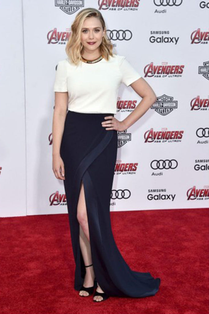 Elizabeth Olsen wears Galvan at the Avengers premiere