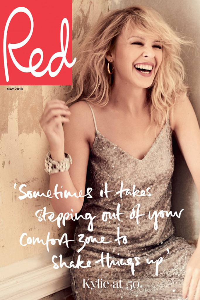 Kylie Minogue wears Galvan for the cover of Red Magazine's May issue