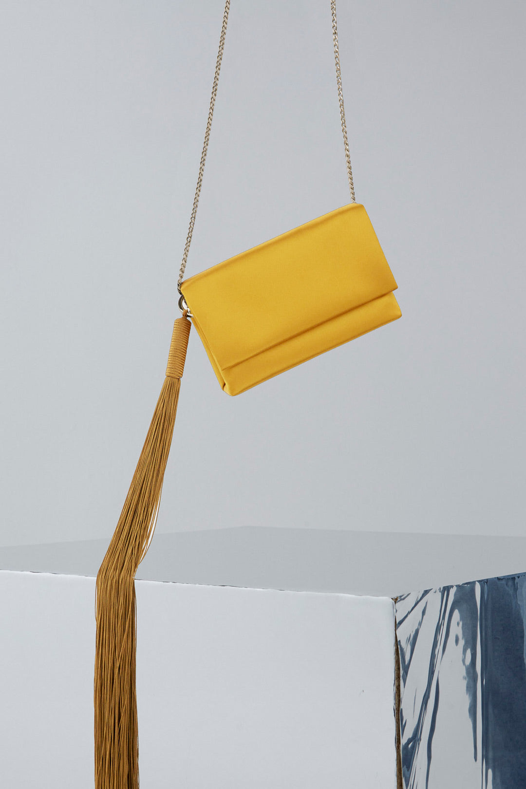 Galvan London Satin evening Clutch - mustard