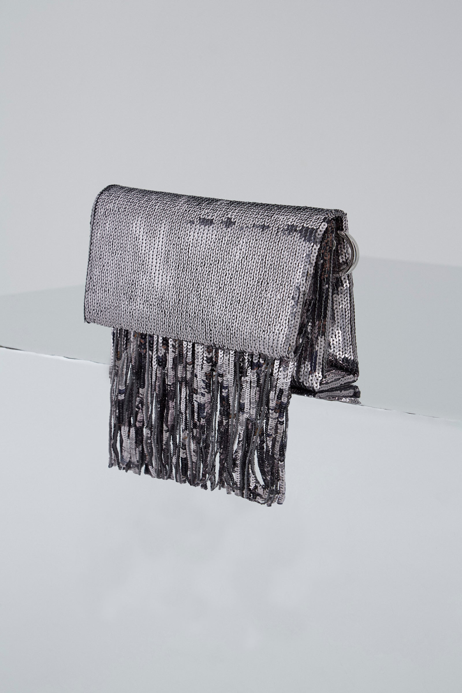 Galvan London Stardust Fringe Clutch - Steel