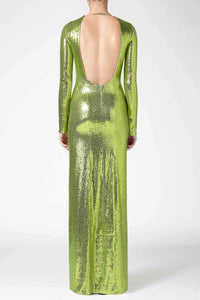 Adela Backless Dress - Lime