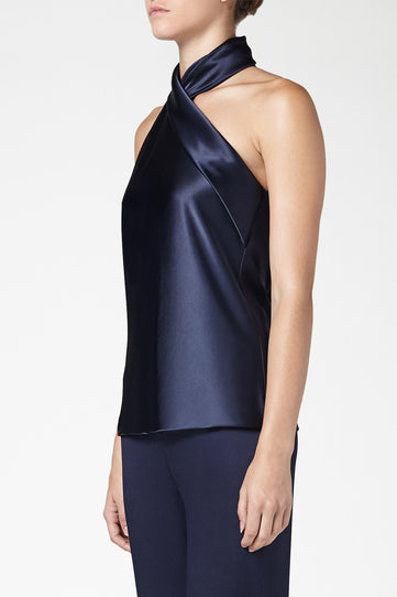 Asymmetric Sash Neck Top - Midnight