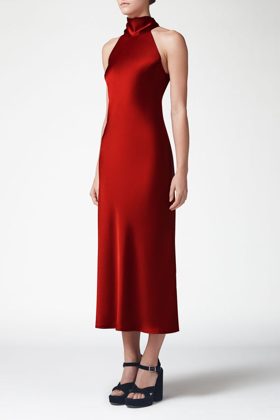 Cropped Silk Sienna Dress - Wine