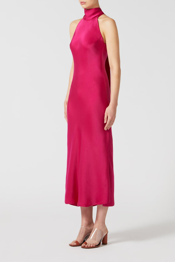 Cropped Silk Sienna Dress - Fuchsia