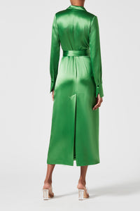 Callisto Wrap Coat Dress - Jungle Green