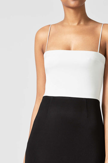 Crepe Bandeau Dress - Black & White