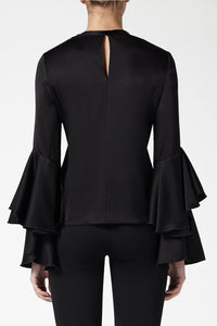 Flared Sleeve Top - Black