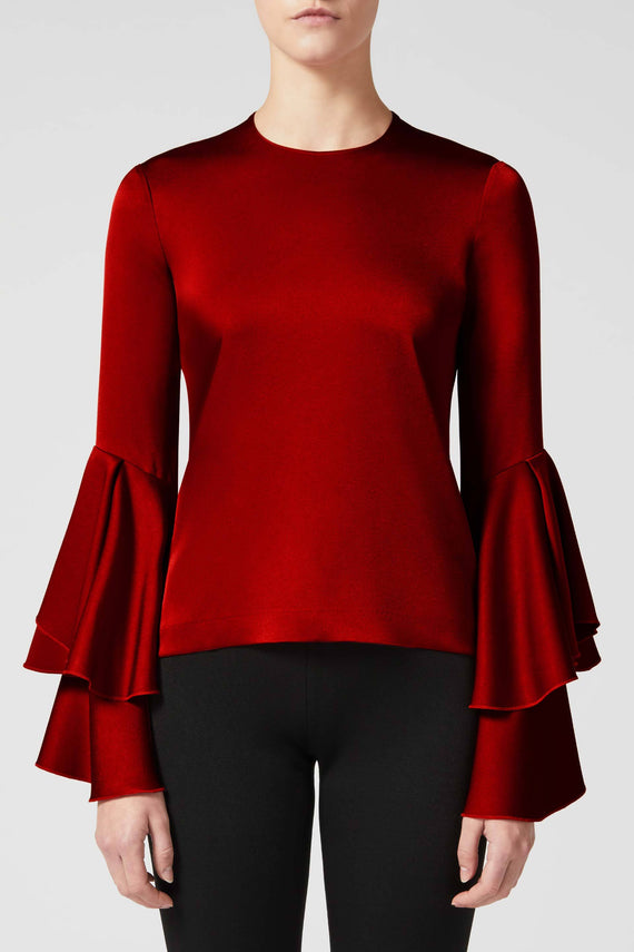 Flared Sleeve Top - Wine