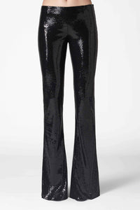 Galaxy Flared Sequin Trousers - Black
