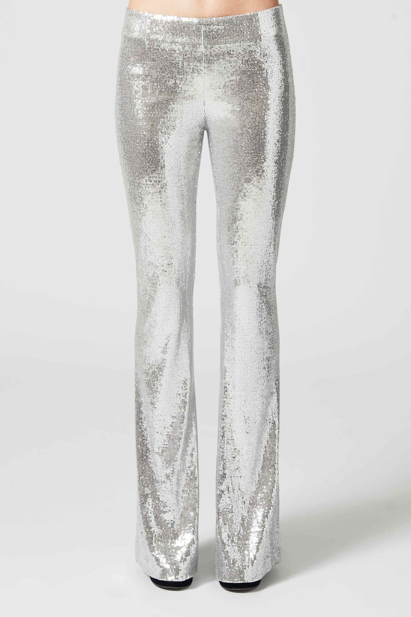 Galaxy Flared Sequin Trousers - Silver