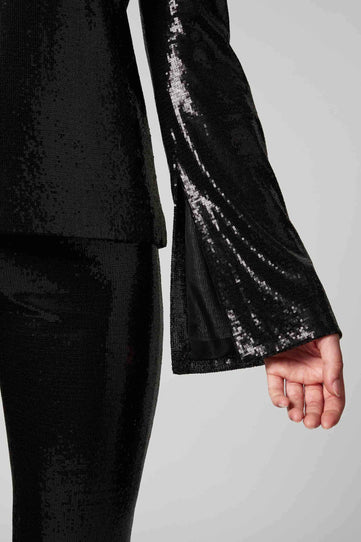 Galaxy Long-Sleeved Sequin Top - Black