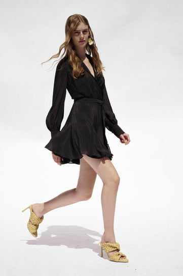 Cabana Mini Wrap Dress - Black