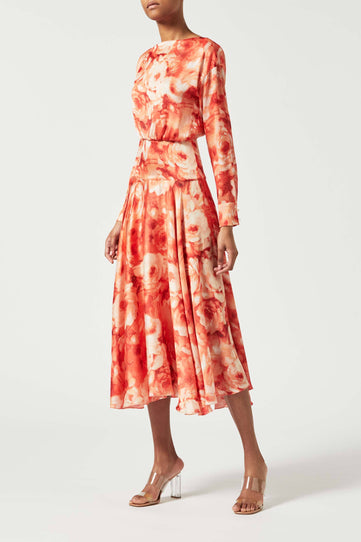 Majorelle Cocktail Dress - Apricot Floral