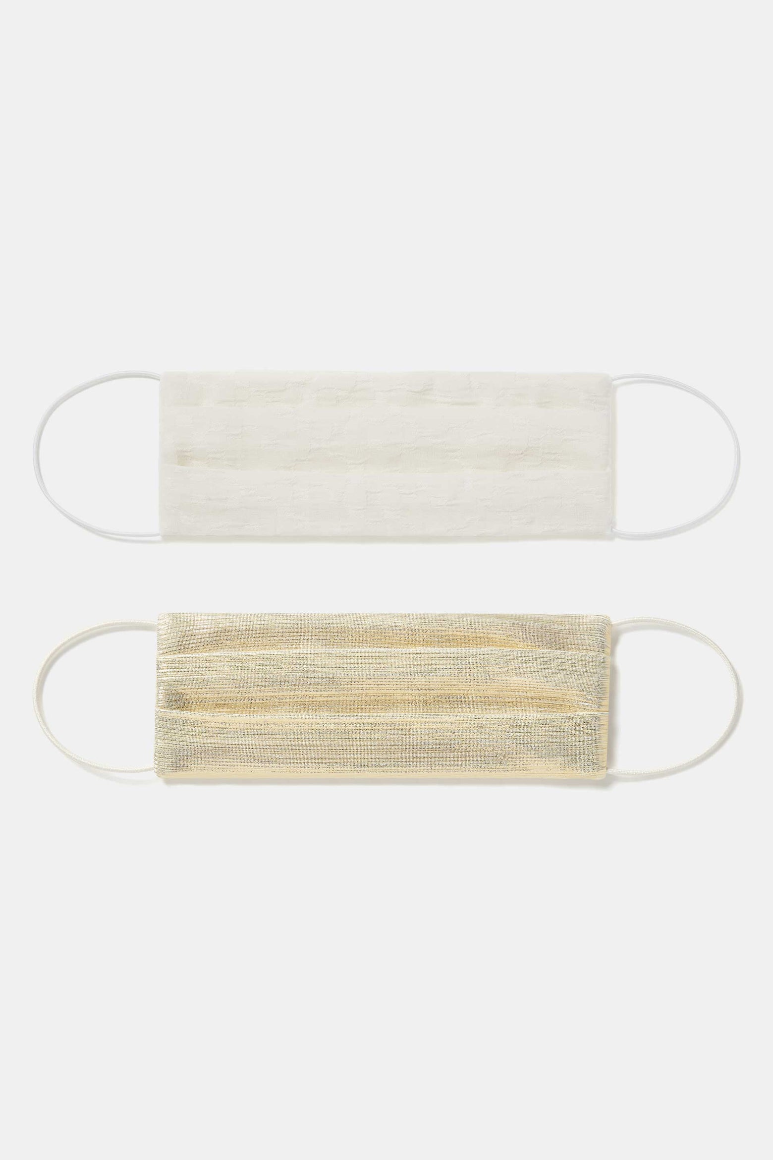 Set of two Face Masks With Elastic - Cream & Pale Gold
