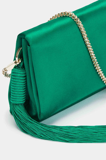 Mini Satin Tassel Bag - Emerald