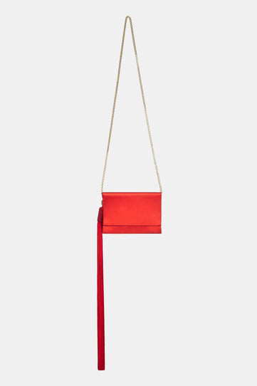 Mini Satin Tassel Bag - Red