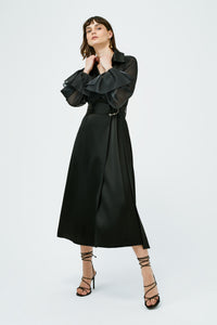 Organza Trench Coat - Black