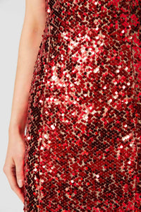 Paillette Column Dress - Red