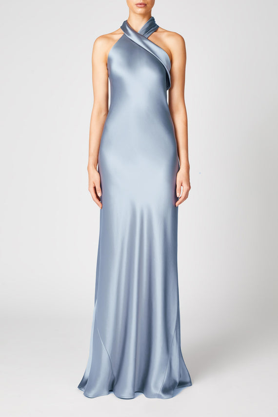 Silk Pandora Dress - Silver Blue