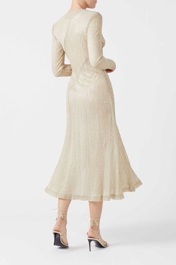 Plissé Dress - Pale Gold