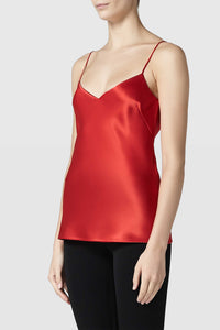 Satin V-Neck Camisole - Red